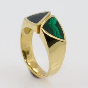 Malachite & Black Jade Men's Ring